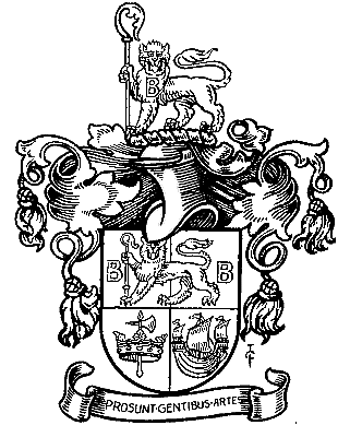 This coat of arms has a lion wearing a giant letter 'b' around his neck, it is pretty cute, the same lion is also holding a staff in one paw, cool