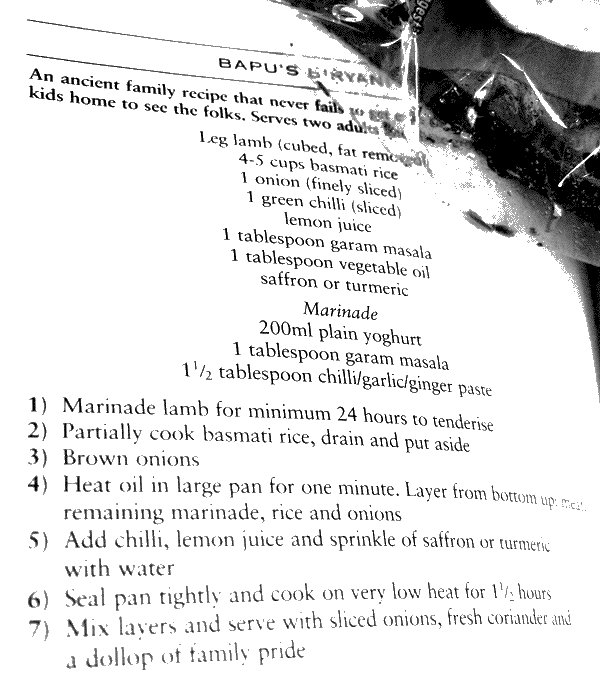 A recipe from curry book