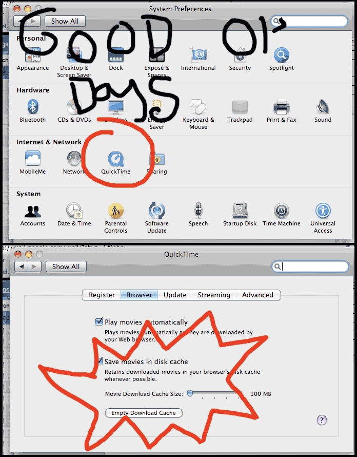 In previous verions of the MacOSX you could edit some of the settings that affect the operation of QuickTime
