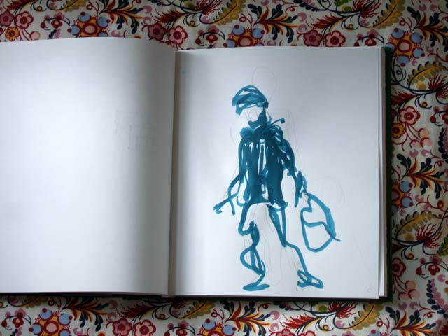 An ink drawing of a person walking with a bag