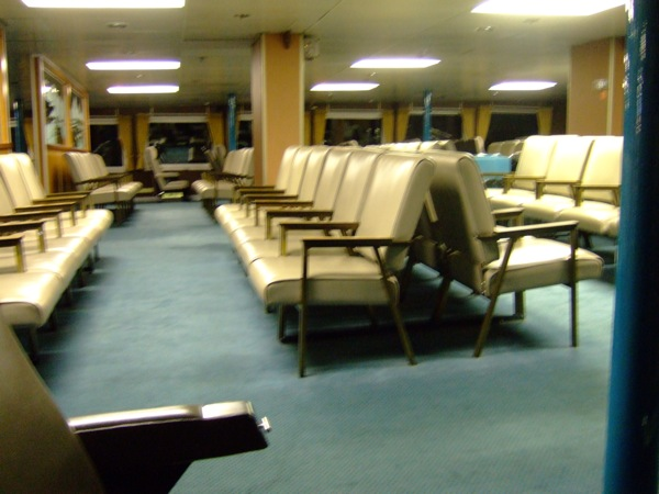 The passanger lounge of this ferry