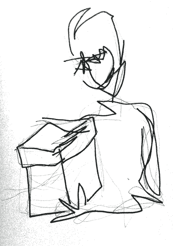 a drawing of an individual holding a box